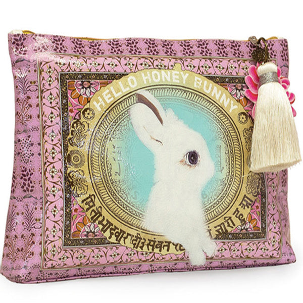 PAPAYA! Art Honey Bunny Rabbit Large Tassel Accessory Pouch Purse - Belle Fleur Boutique