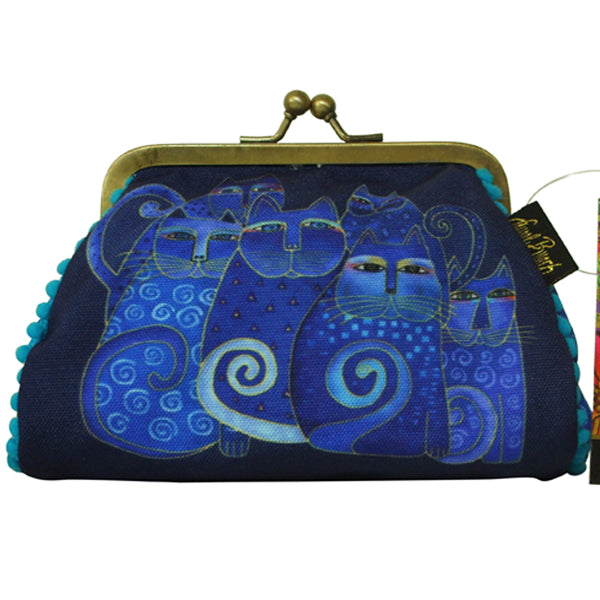 Laurel Burch Indigo Cats  Blue Multi-Color Kisslock Coin Purse - Belle Fleur Boutique