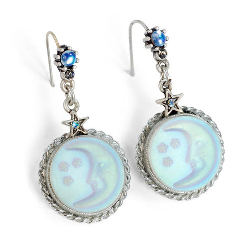Sweet Romance Iridescent Silvery Moon and Stars Pierced Earrings - Belle Fleur Boutique