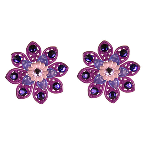 Tarina Tarantino Layered Lucite Flower Pierced Earrings (Purple) - Belle Fleur Boutique