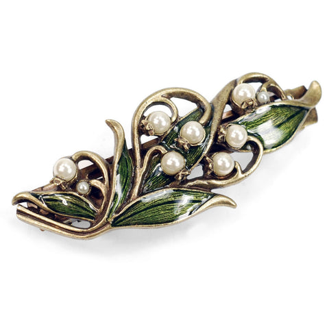 Sweet Romance Lily of the Valley Flower & Glass Pearls Barrette - Belle Fleur Boutique