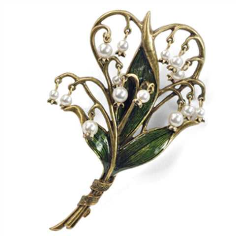 Sweet Romance Lily of the Valley Art Nouveau-Style Pin Brooch - Belle Fleur Boutique