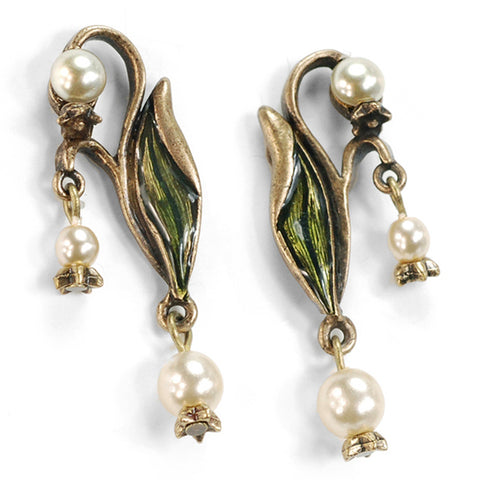 Sweet Romance Lily of the Valley Art Nouveau-Style Post Earrings ~Made in Los Angeles~ - Belle Fleur Boutique