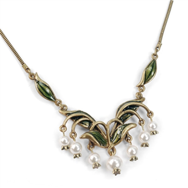 Sweet Romance Lily of the Valley Flower & Glass Pearls Necklace - Belle Fleur Boutique