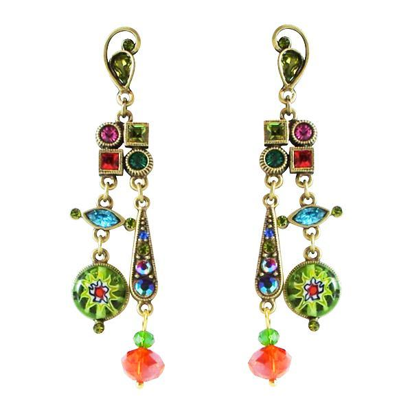 Sweet Romance Millefiori Candy Glass Beads & Crystals Pierced Earrings - Belle Fleur Boutique