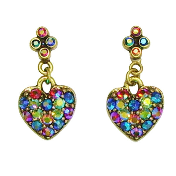 Sweet Romance Multi Aurora Crystal Heart Post Earrings - Belle Fleur Boutique