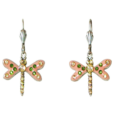 Anne Koplik Peach Enamel & Swarovski Crystal Dragonfly Leverback Earrings - Belle Fleur Boutique