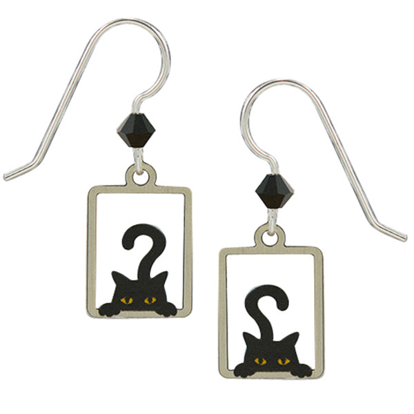 Sienna Sky Peek A Boo Black Cat Pierced Earrings - Belle Fleur Boutique
