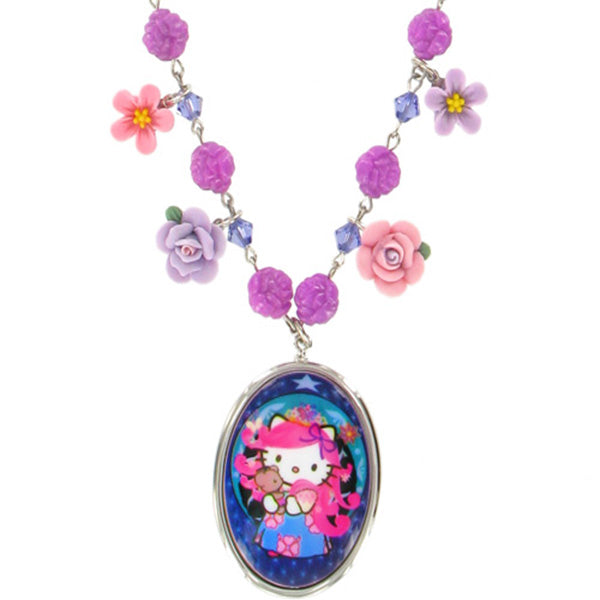 Tarina Tarantino Pink Head Heritage Flower Charm Necklace (Purple) - Belle Fleur Boutique