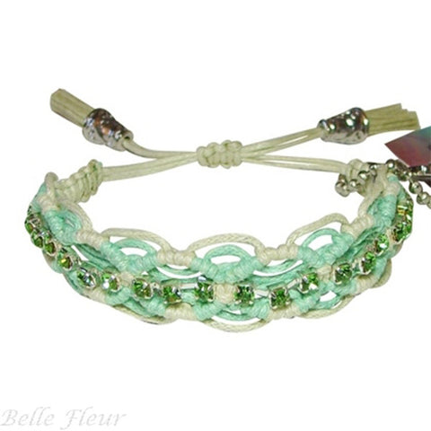 "Rose Gonzales ""Naomi"" Fresh Collection Woven Bracelet in Mint Green & Old Lace - Belle Fleur Boutique"