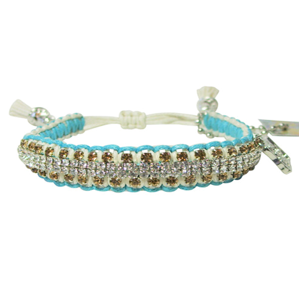 "Rose Gonzales ""Vanessa"" Rodeo Collection Woven Bracelet in Turquoise & Cream - Belle Fleur Boutique"
