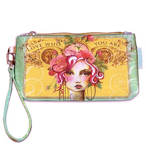 "PAPAYA! Art Rose Love Who You Are Wallet Wristlet (6.5"" x 4.5"") - Belle Fleur Boutique"