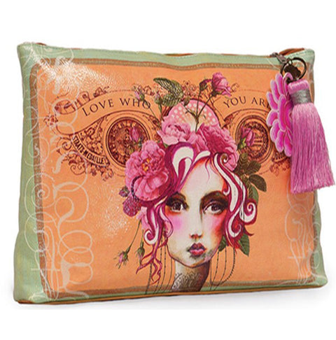 PAPAYA! Art Rose Love Who You Are Large Tassel Accessory Pouch Purse - Belle Fleur Boutique