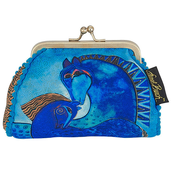 Laurel Burch Teal Mares Horses Kisslock Coin Purse (Blue & Multi-Color) - Belle Fleur Boutique