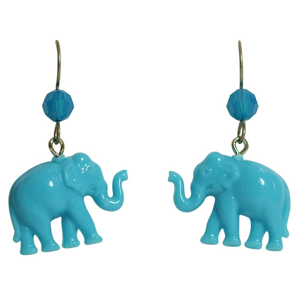 Tarina Tarantino Tiny Caravan Blue Lucite Elephant Pierced Earrings - Belle Fleur Boutique