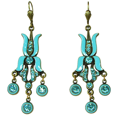 Anne Koplik Tulip Chandelier Leverback Earrings (Turquoise Enamel) - Belle Fleur Boutique