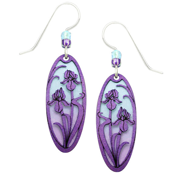 Adajio Violet Irises Overlay Blue & Purple Ombre Oval Pierced Earrings ~Made in USA~ - Belle Fleur Boutique