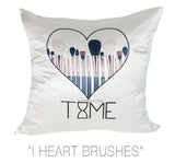 I HEART BRUSHES DECORATIVE PILLOW