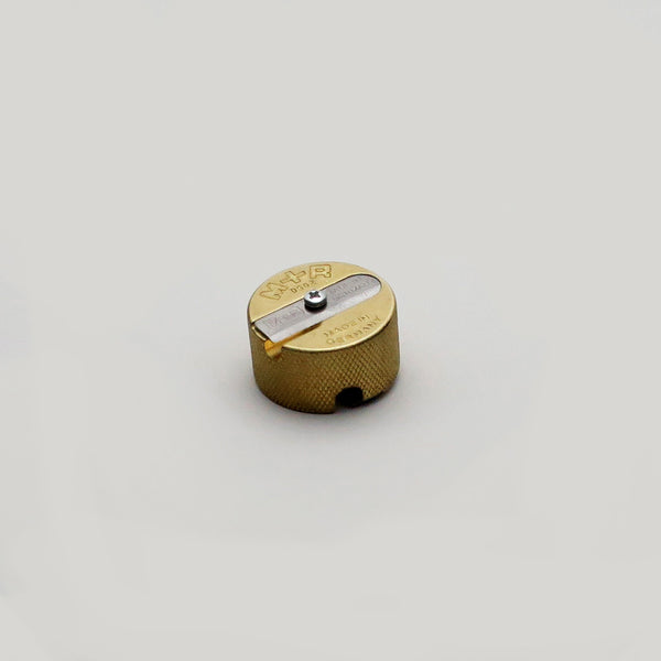 M+R brass round double hole pencil sharpener