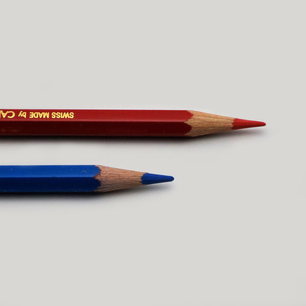Sharpened point bicolor 999 red and blue combo pencil