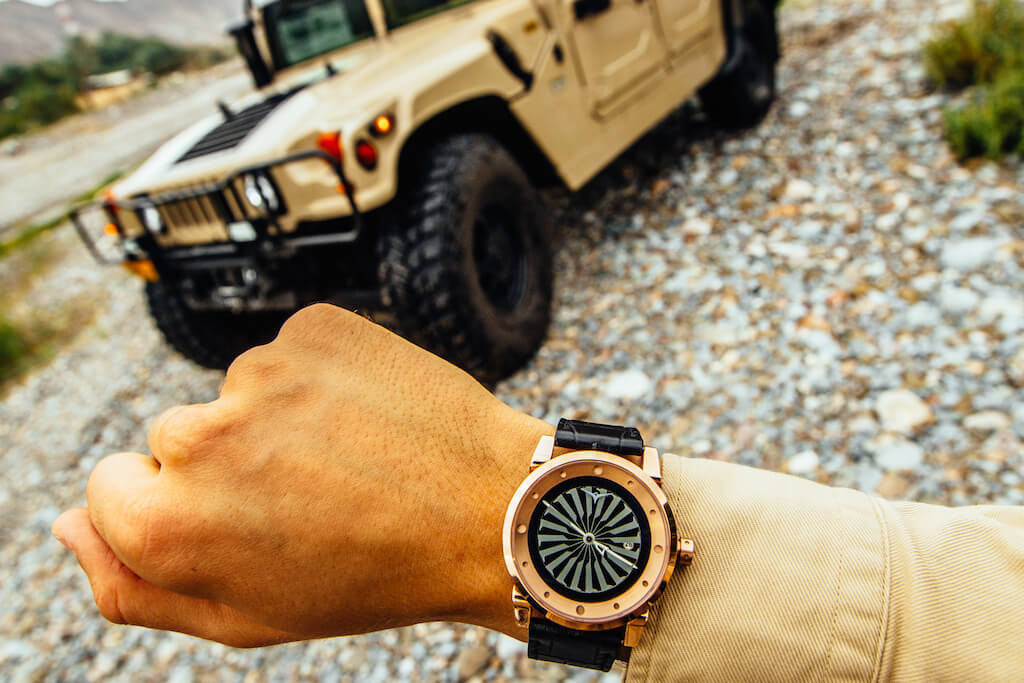 ZINVO Rose Gold Blade Hummer H1 Watch