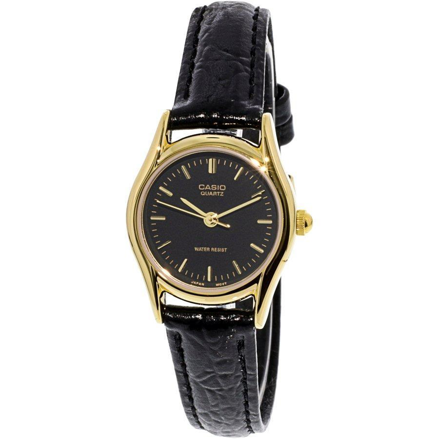Casio Womens Black Leather Quartz Dress Watch