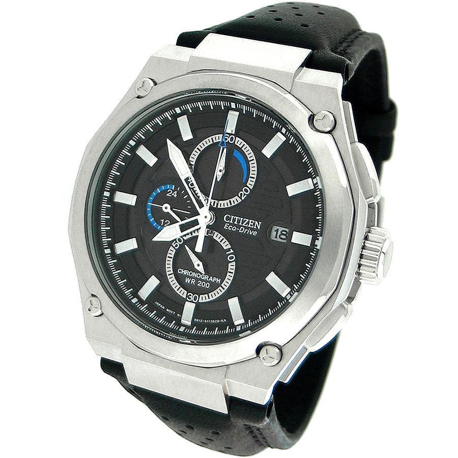 Citizen Eco-Drive Black Leather Fashion Mens Watch