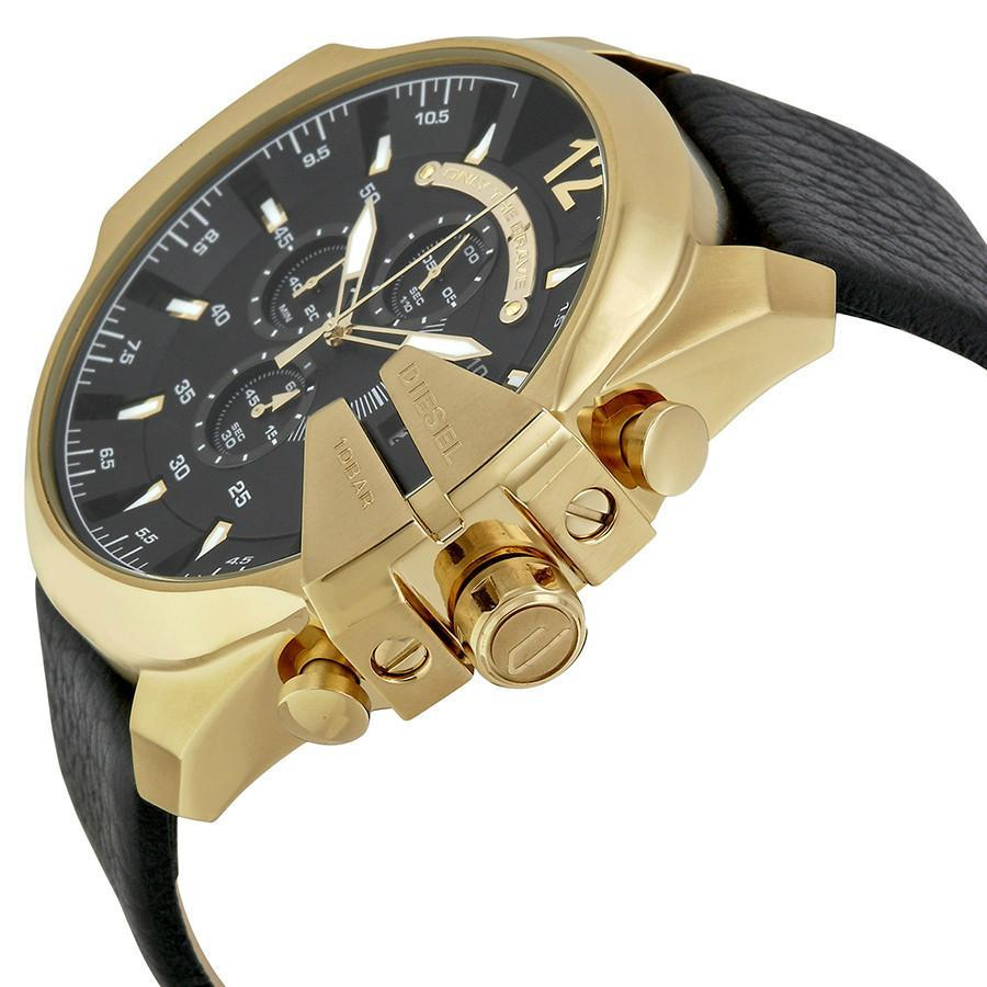 Diesel Mega Chief Gold Leather Quartz Mens Watch
