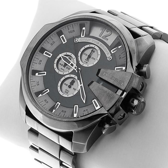Diesel Mega Chief Grey Dial Black Ion-plated Mens Watch