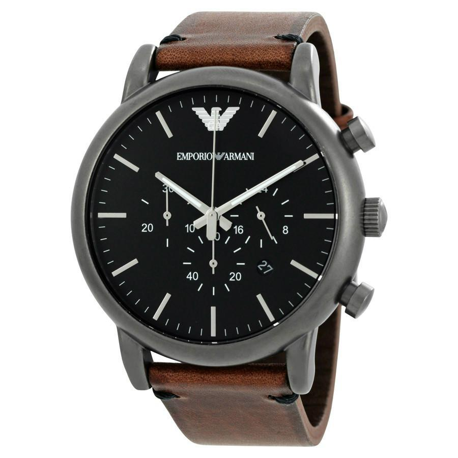 Emporio Armani Mens Gunmetal Leather Quartz Watch