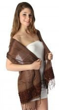 Small rose embroidered Shawl Brown