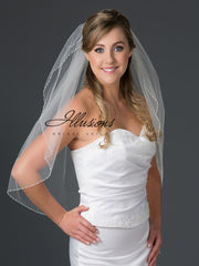 Beaded edge wedding veil V-7047