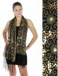 Fareast flower Sequin Shawl Black Gold