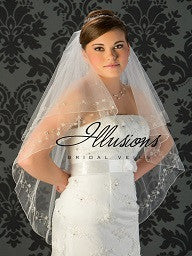 Beaded edge wedding veil V-7028