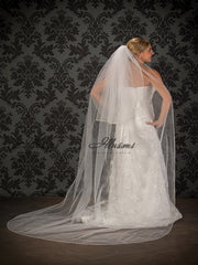 Beaded edge wedding veil V-796