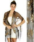 Sequin vine bead shawl Black/Gold