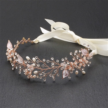 Best-Selling Bridal Headband with Hand Painted Rose Gold and Silver Leaves 4384HB-I-RG