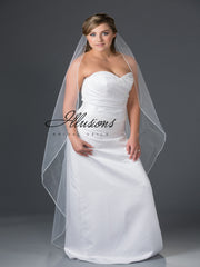 Beaded edge wedding veil V-7049