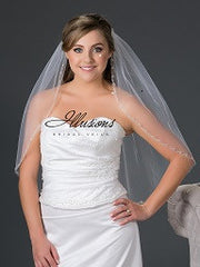 Beaded edge wedding veil V-7048