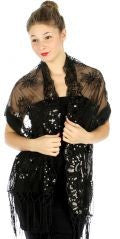 Sequin floral border bead shawl Black