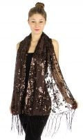 Floral sequins scalloped border shawl Brown