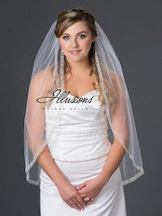Beaded edge wedding veil V-7050