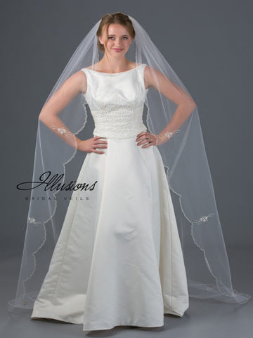 Beaded Edge Wedding Veil  V-7056