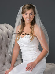 Beaded edge wedding veil V-7052