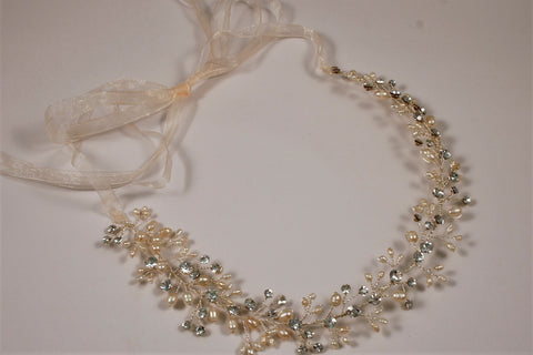 Fresh Water Pearl Silver Headband/Belt B-4180M