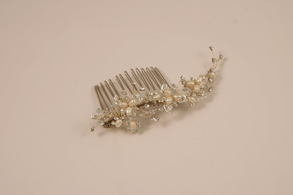 Ivory and Silver Fresh Water Pearl Side Comb S-2157M