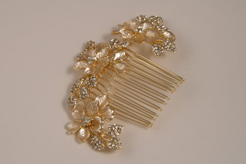 Rhinestone Floral Gold Side Comb S-2680LG