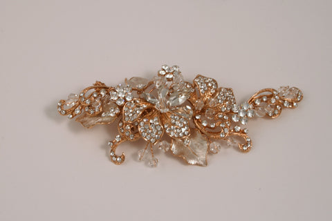 Swarovski Crystal and Rhinestone Rose Gold Hair Clip S-2708RG