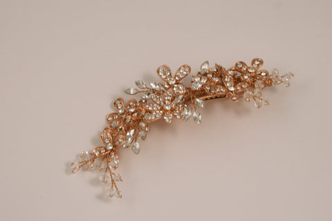 Swarovski Crystal and Rhinestone Rose Gold Hair Clip S-2717