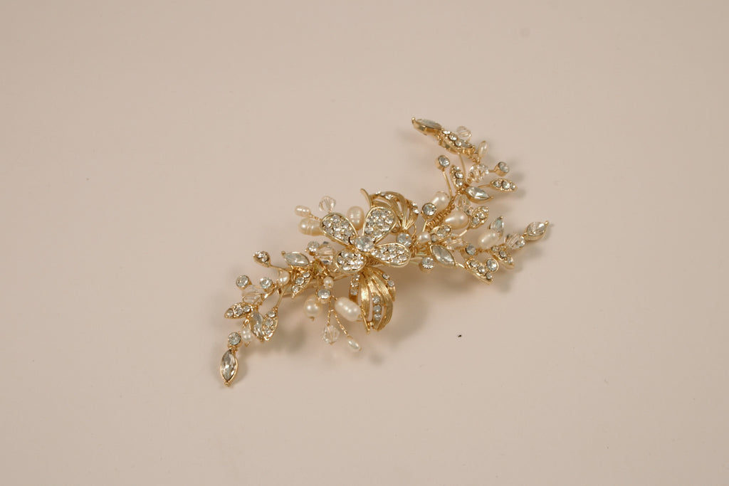 Swarovski Crystal and Fresh Water Pearl Gold Hair Clip S-2722